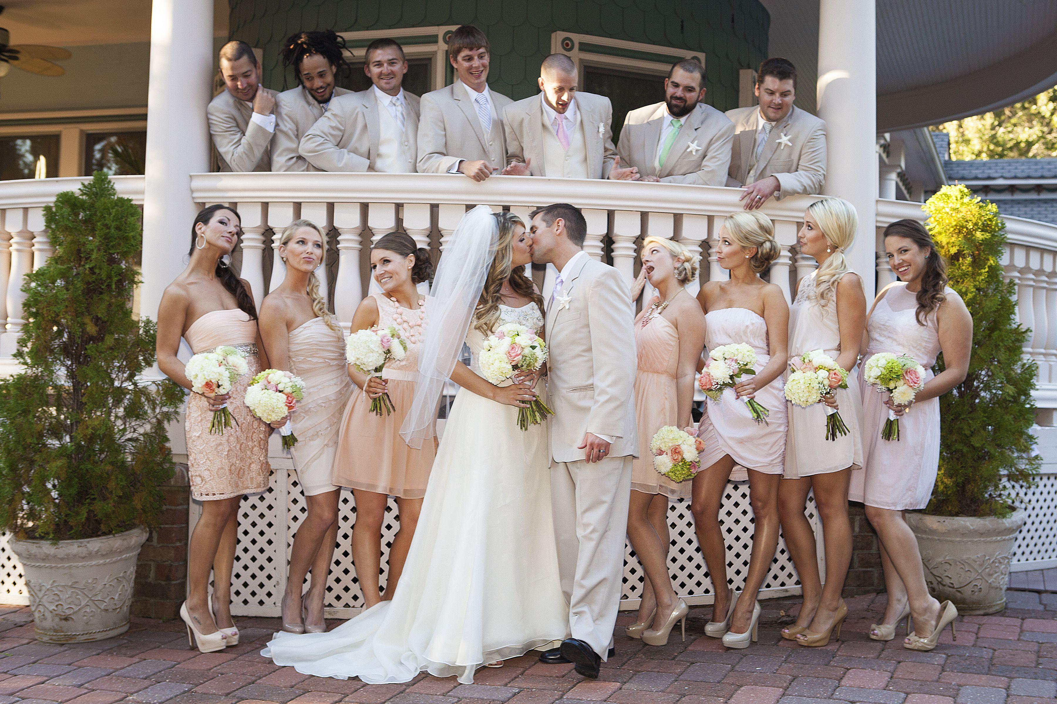 Blush bridesmaid dresses and khaki groomsmen outfits each blush bridesmaid dresses and khaki groomsmen outfits each bridesmaid had a different style blush dress ombrellifo Images