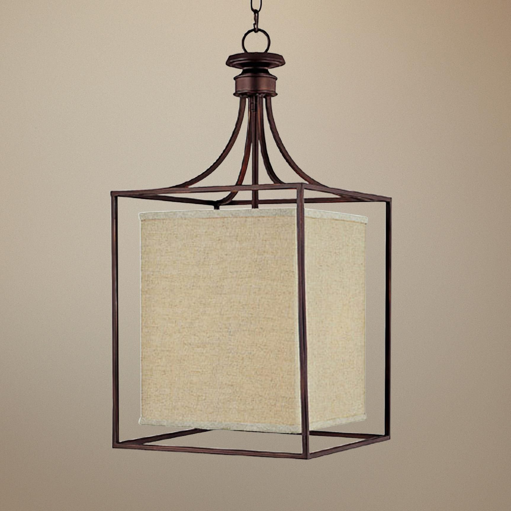 310 Midtown Collection Burnished Bronze Square Foyer Chandelier