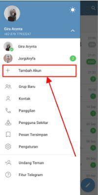 cara menambahkan akun di telegram