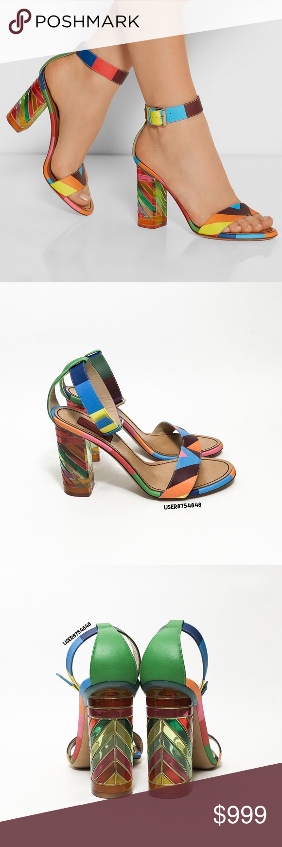8ce7e8baff4a Valentino Rainbow Acrylic Block Heel Sandal NO TRADES Add a color to your  step with these prismatic rainbow block sandals by Valentino.