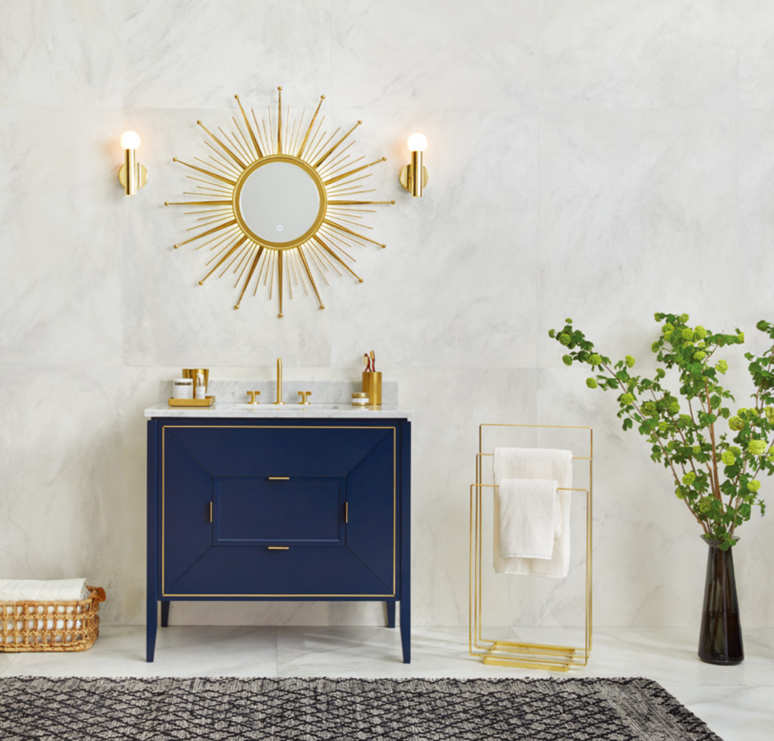 The gorgeous Amora Vanity in Navy paired with our Sunburst mirror ...