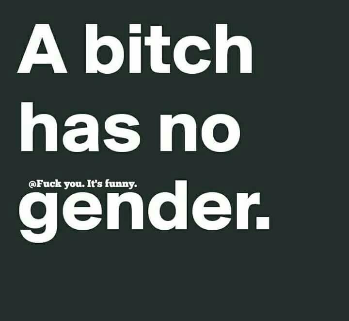 A bitch has no gender.