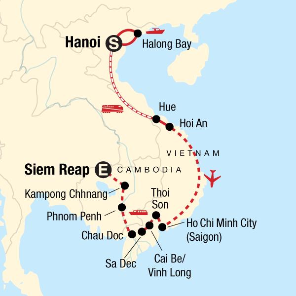 sa dec vietnam map Itinerary Classic Vietnam Mekong River Adventure In Vietnam