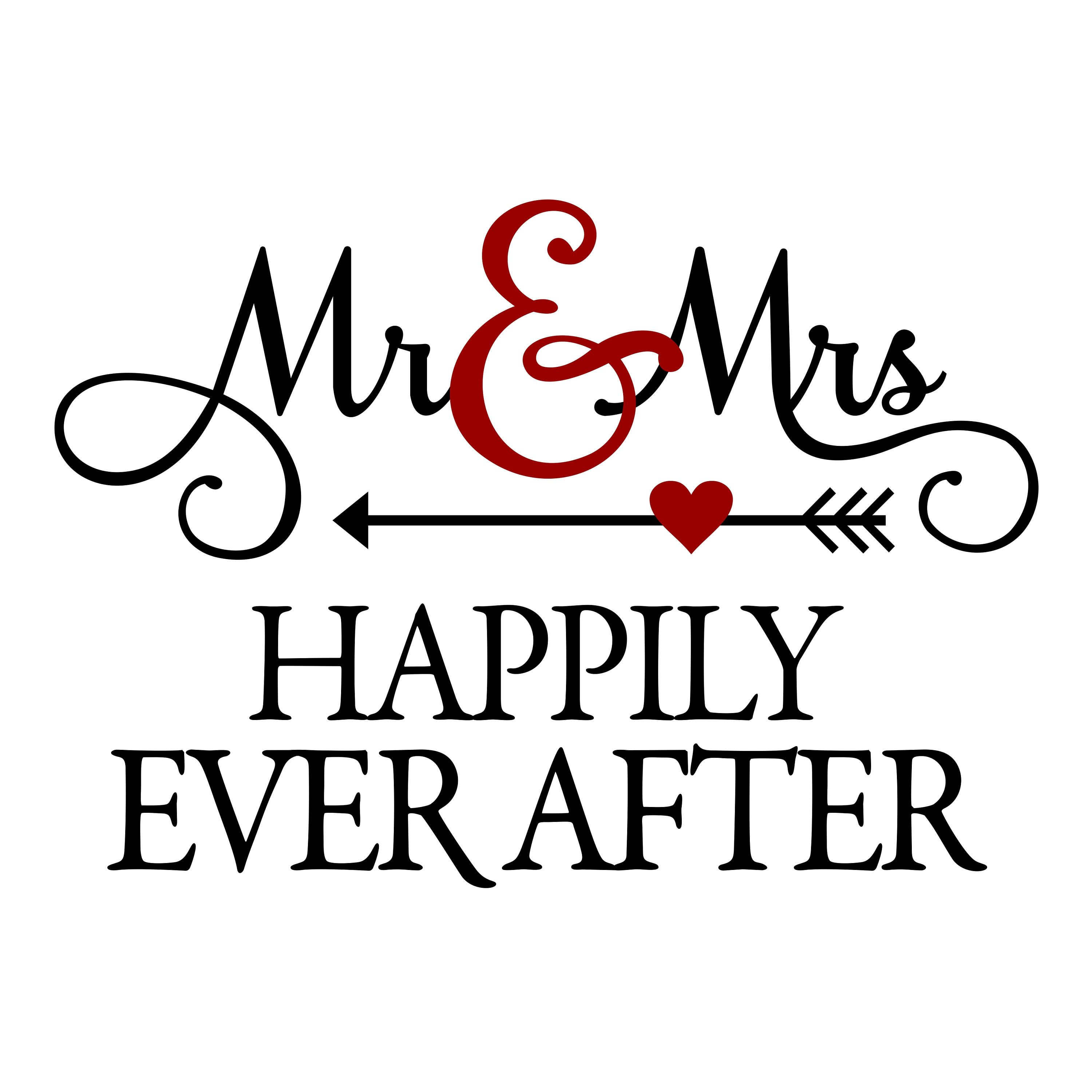 Mr Mrs Happily Ever After Phrase Graphics Svg Dxf Eps Png Cdr Ai Pdf Vector Art Clipart Instant Downloa Lettering Silhouette Cameo Projects Silhouette Design