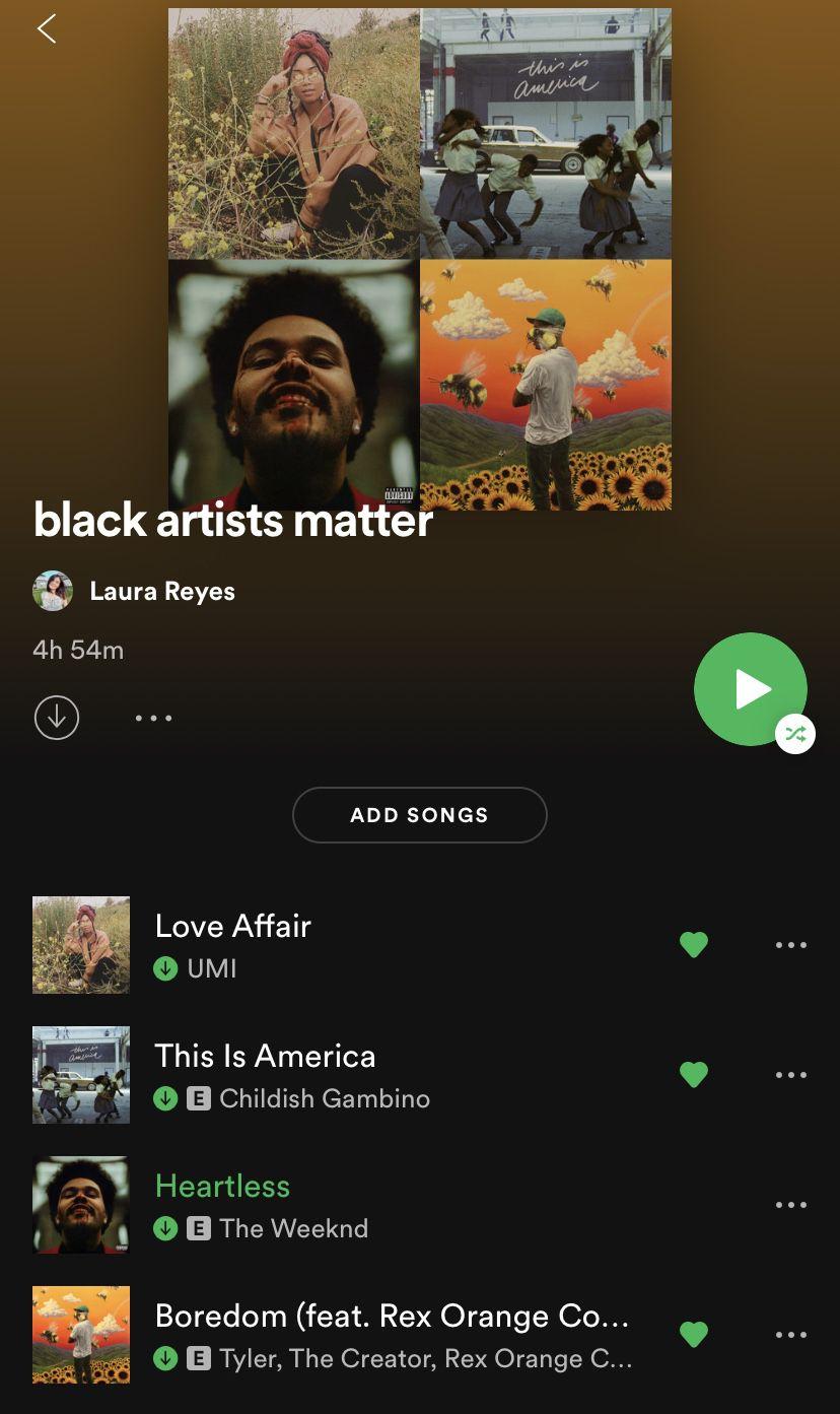 Black Artists Matter On Spotify In 2020 Black Artists Spotify Playlist Playlist