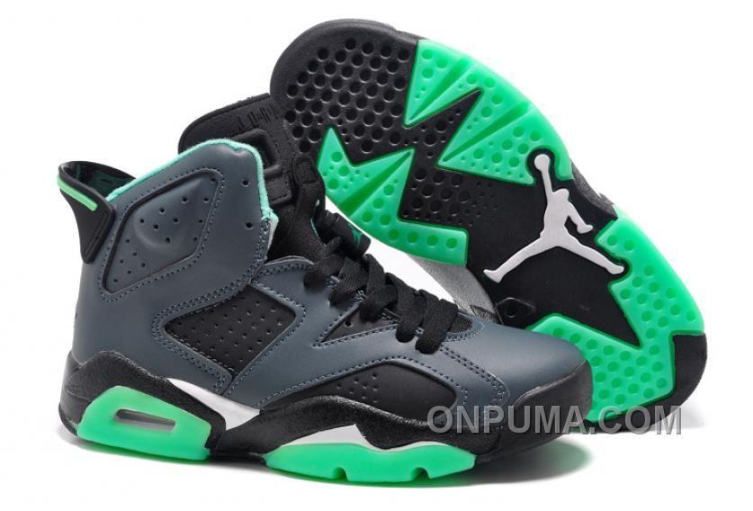 Girls Cheap Air Jordan 6 (VI) Retro GS Black/Jade Green For Sale