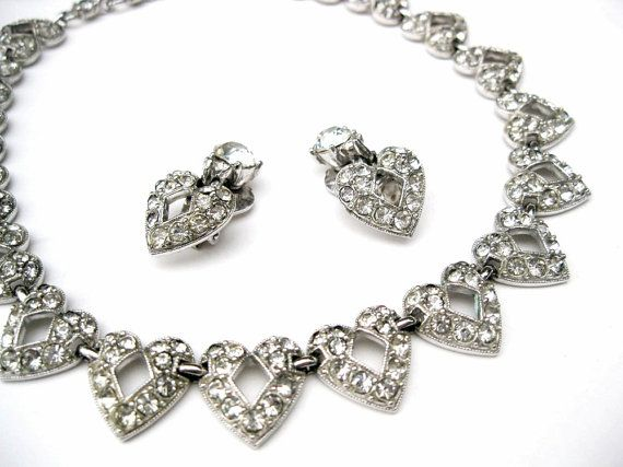 Bogoff heart shaped necklace & earrings from 1950s...the perfect bride's jewelry!