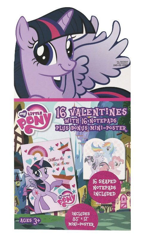 16 Valentines Exchange Cards With Notepads And Mini Poster Mlp