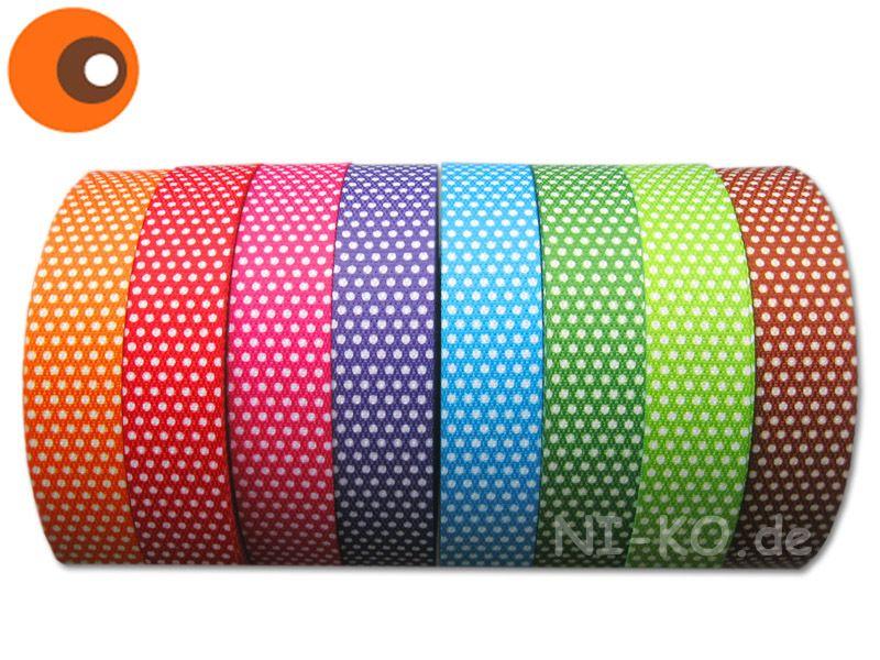 Gurtband - 1 m Gurtband gepunktet, 30 mm - 15 Farben zur Wahl - ein Designerstück von NI-KO bei DaWanda