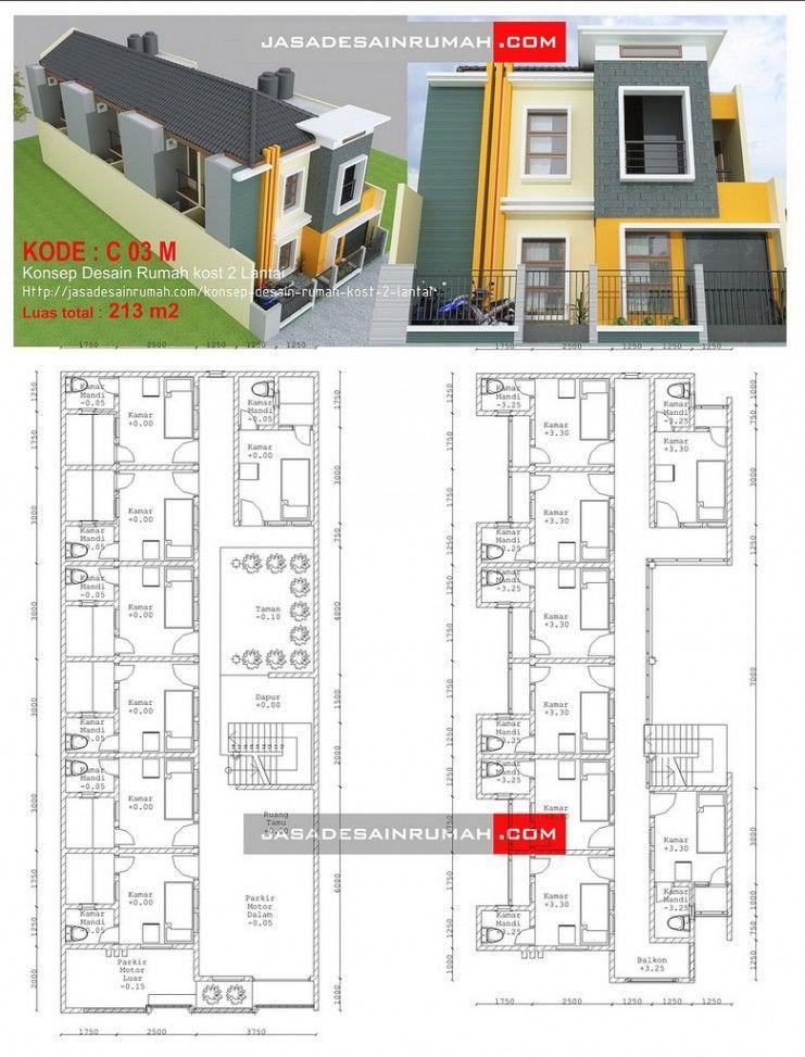 Desain Rumah Kos : desain, rumah, Konsep, Desain, Rumah, Lantai, Rumah,, Apartemen,