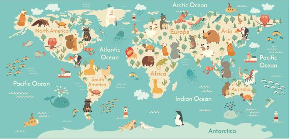 Removable Wallpaper World Map Kids By Bcmagicwallpaper