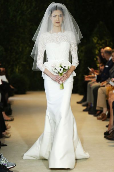 Carolina Herrera Bridal Spring 2014 white wedding gown .. Lace and silk wedding dress ... Long sleeves ... Fit and flare slim fitted ... Rustic glamorous, country elegance, shabby chic, vintage, whimsical, boho, best day ever