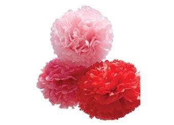 set van 3 romantisch rode poms (large)