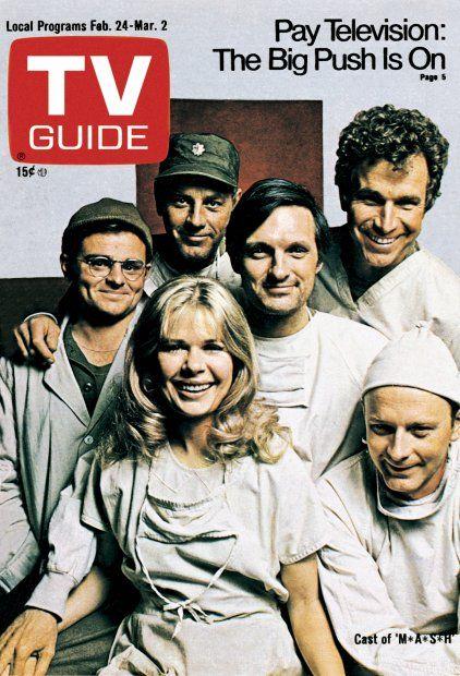 TV Guide February 24, 1973 - Gary Burghoff, McLean Stevenson, Alan Alda, Wayne Rogers, Loretta Swit and Larry Linville of M*A*S*H*.