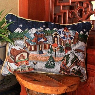 How To Wash Throw Pillows Without Removable Cover Adorable Snowing Village Christmas Scene Tapestry Style Cushion Covers