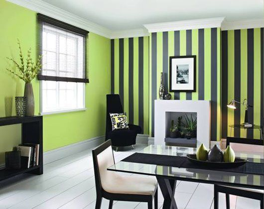 Beautiful Dining Room With Bright Green And Black Striped Wall
