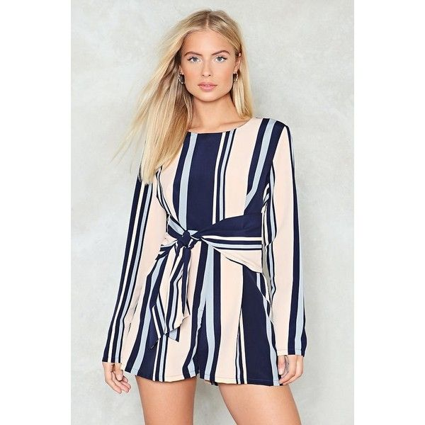 593aae7a422 Nasty Gal Stripe Right Romper ( 50) ❤ liked on Polyvore featuring ...