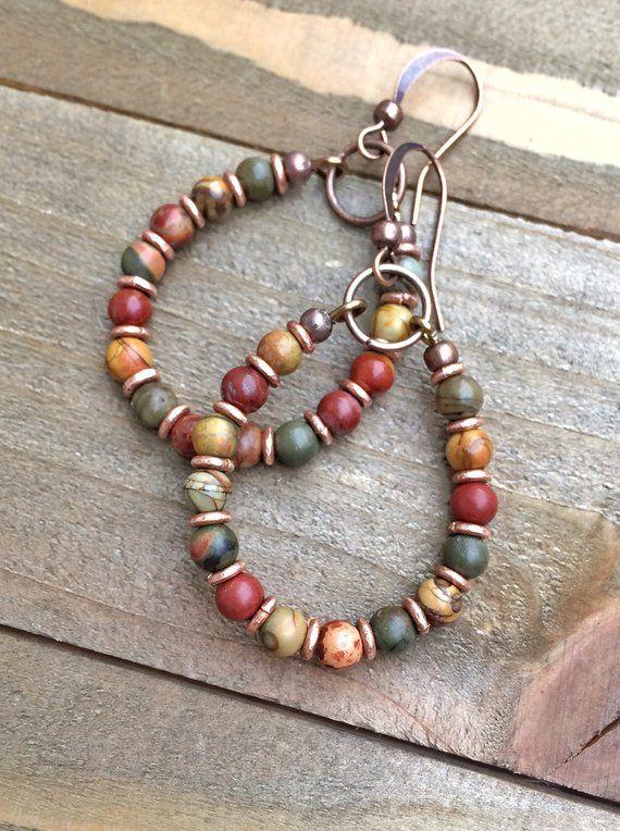 Photo of Bohemian Earrings Boho Jewelry Small Hoop Earrings Copper