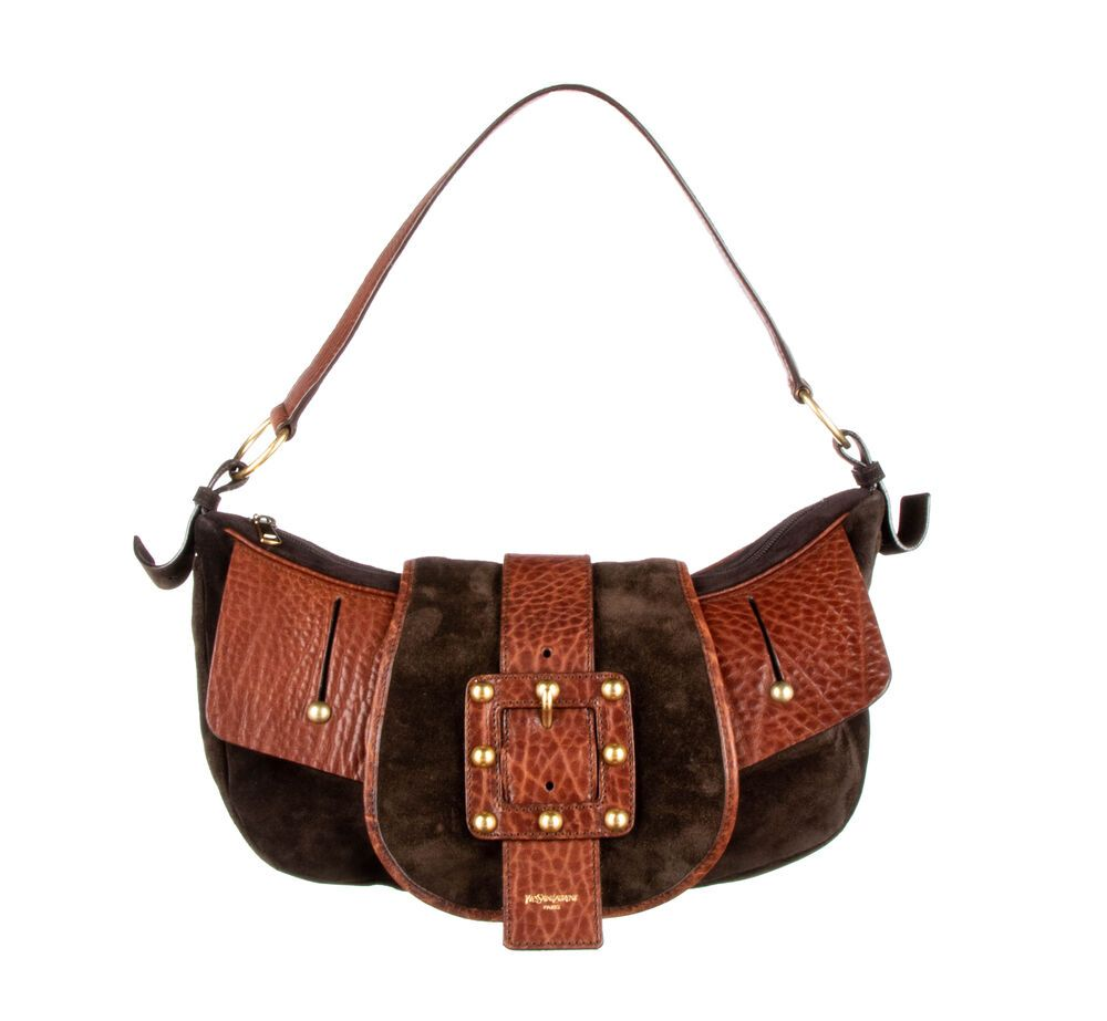 8382d81a3a YVES SAINT LAURENT Brown Suede Leather Buckle Studded Hobo Shoulder ...