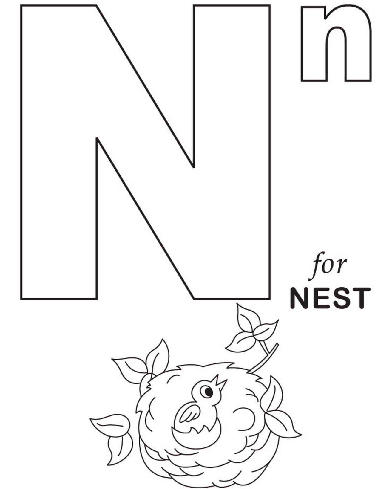 Free Alphabet Coloring Pages N For Nest | letters | Pinterest