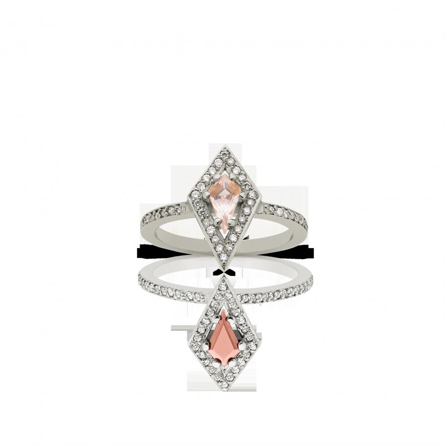 Kite Ring 9ct White Gold White Diamond with