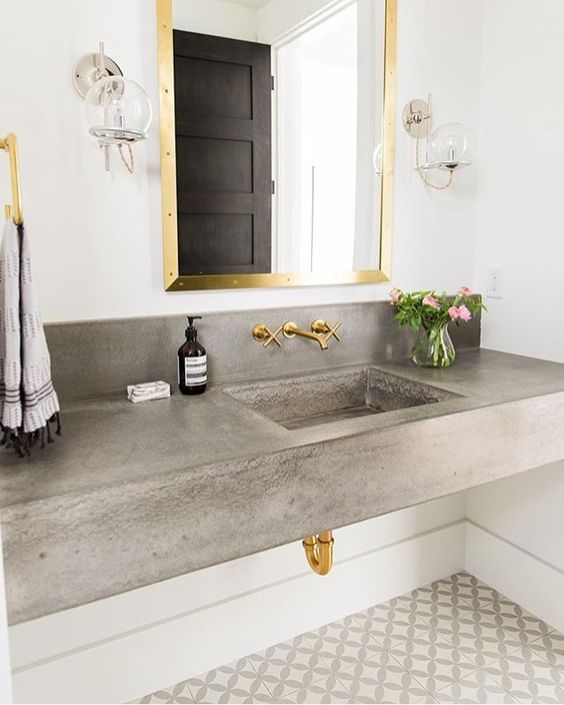 Polished Concrete Benchtop Basin And Vanity With Exposed