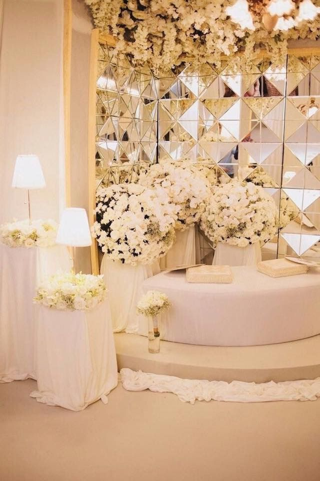 wedding stage decoration pics%0A Mirror Dais  all white wedding decor  white wedding lounge