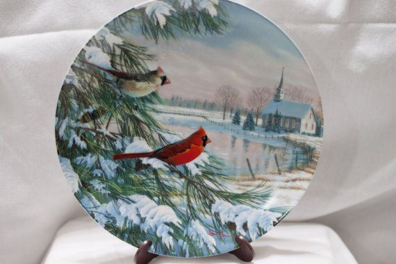 Vintage Decorative Plate Cardinal Cardinals In Winter Bird Christmas Collector Knowles China Sam Timm