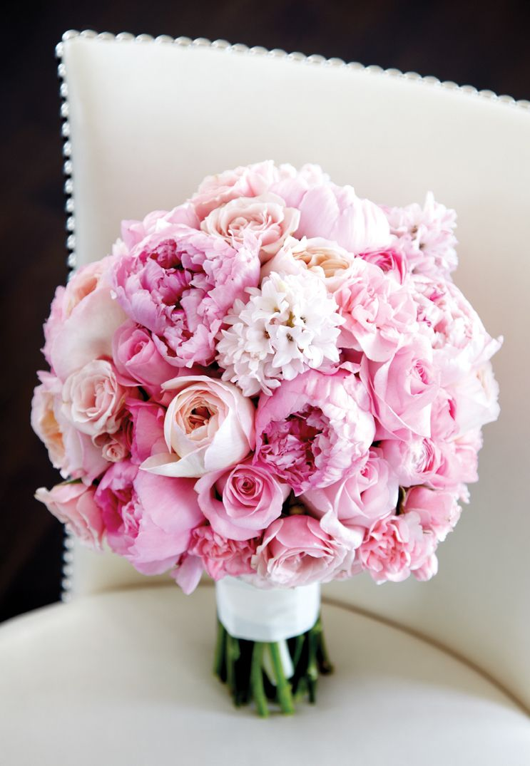 Bouquet of peonies, ranunculus, hyacinth, garden roses and spray ...