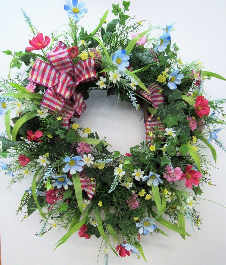 Floral Grapevine Wreath Floral Wreath Home Decor Wall Decor Floral Wreath Indoor Wreath Bedroom Interior Floral Wreath Blush and Blue