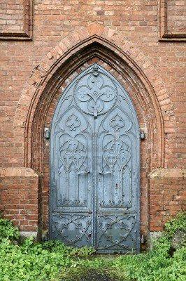 Old Gothic Church Metal Door Red Brick Arch Brick Arch Gothic Church Metal Door
