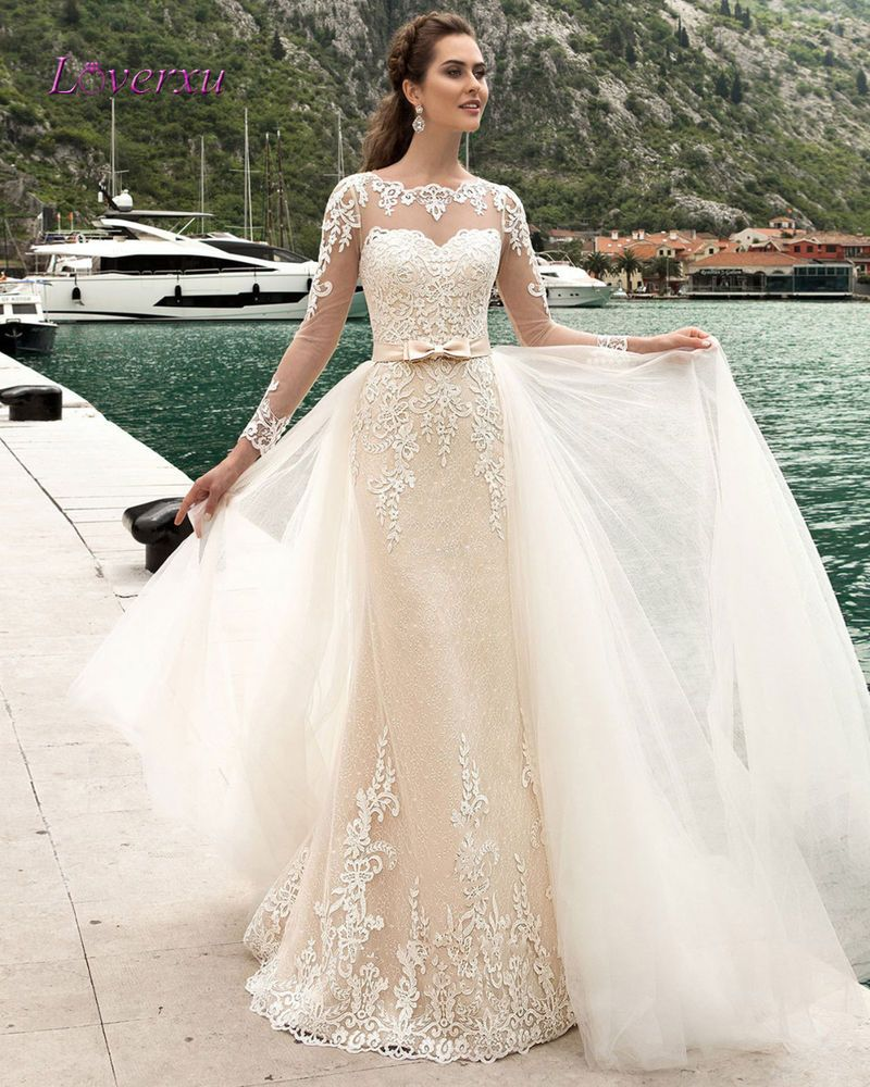4bb3b4020a Champagne Lace Mermad Wedding Dresses Detachable Train Long Sleeves Bridal  Gowns