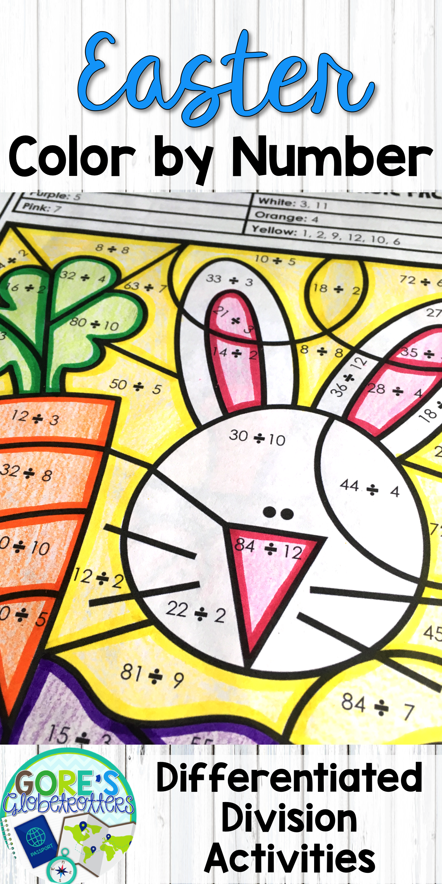 Spring Math Color By Number Differentiated Division With