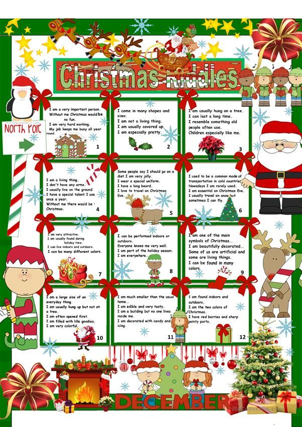 Christmas Riddles + Key Printable worksheets, Handouts