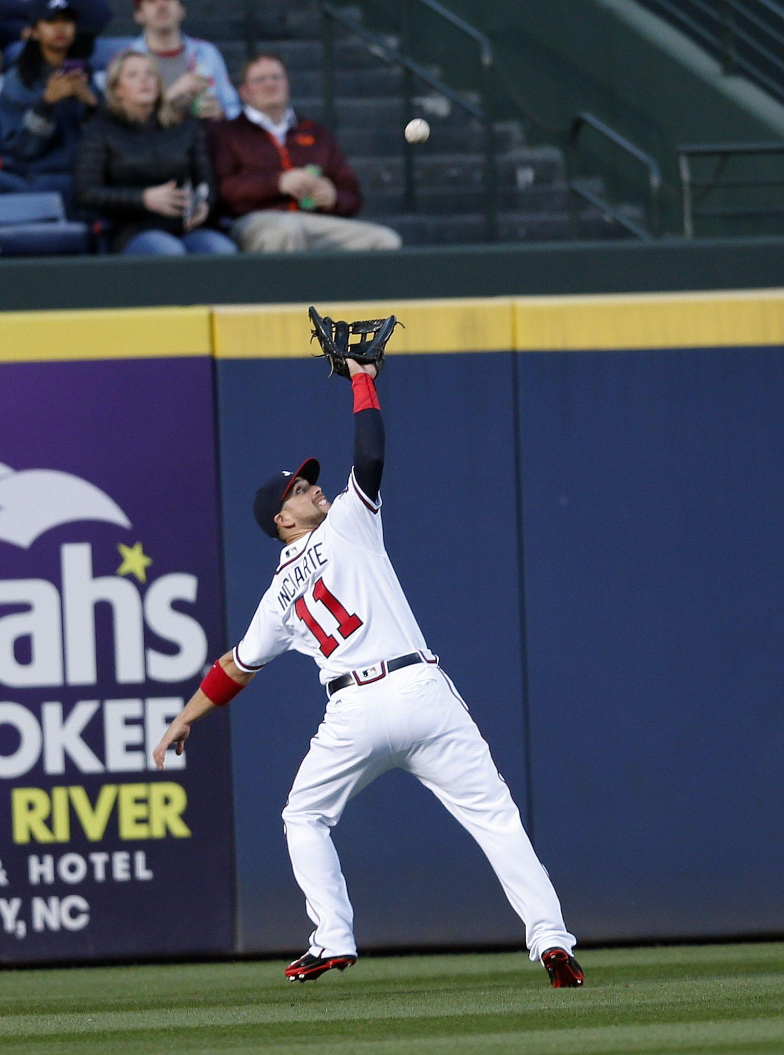 Atlanta Braves Center Fielder Ender Inciarte 11 Gets Under A Fly Ball Off The Bat Of St Louis Cardina Atlanta Braves Atlanta Braves Baseball Braves Baseball