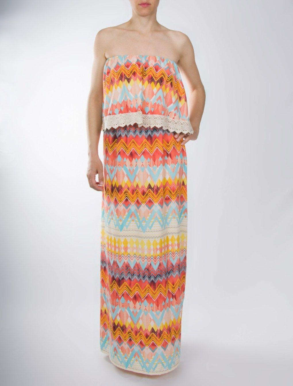 fd0601ddd8fe Φόρεμα missoni maxi στράπλες με βολάν και δαντέλα Σύνθεση  97% viscose 3%  elas Ελληνικής κατασκευής