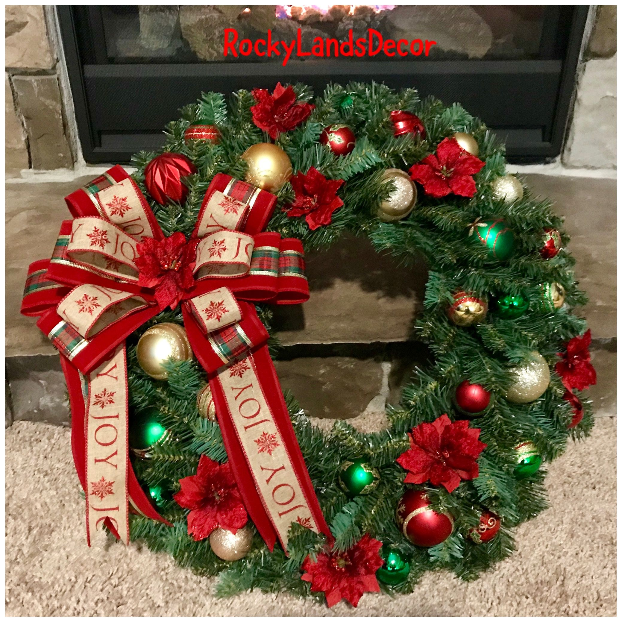 Traditional Christmas Wreath With Red, Green, & Gold Decor Bow