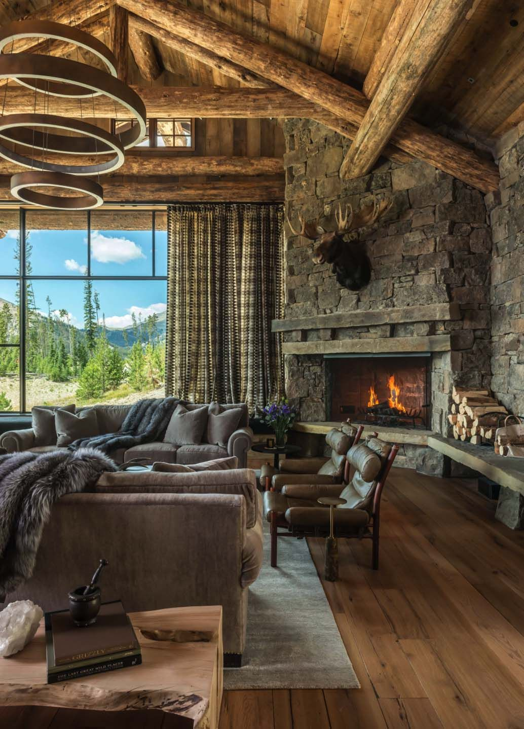 This stunning rustic chic mountain home is