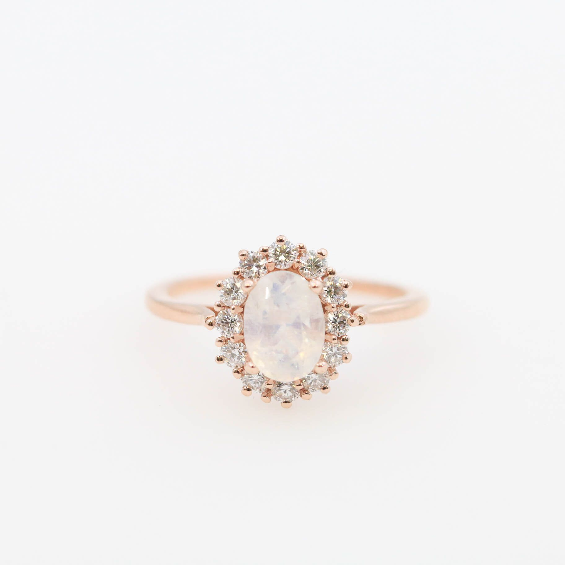 Diamond halo oval moonstone engagement ring x oval moonstone