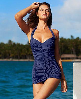 cb1db2312b923 DKNY Halter Shirred One-Piece Swimdress - Swimwear - Women - Macy's ...