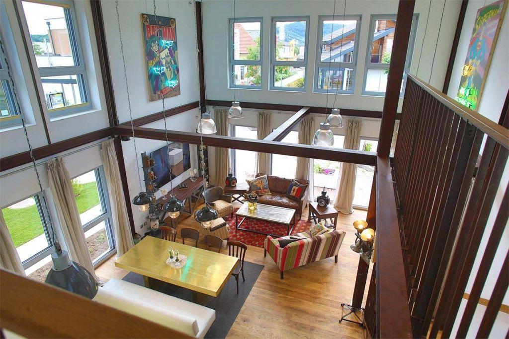 Hohe Räume und die Kombination von Küche, Ess- und Wohnzimmer - grose fenster wohnzimmer
