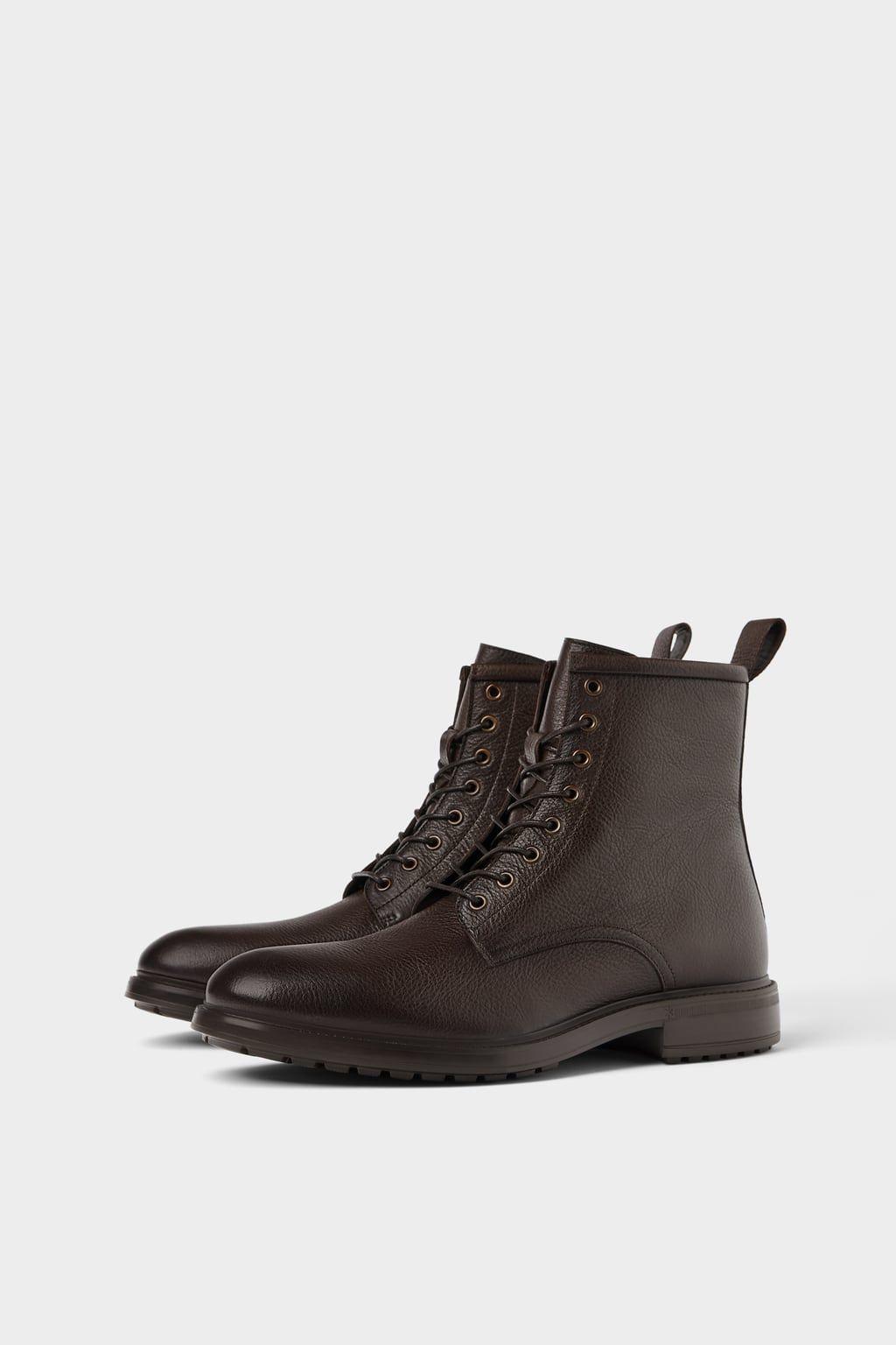 Leather Boots Zara Light Sepatu Bot Kulit Sepatu Pria Sepatu Bot