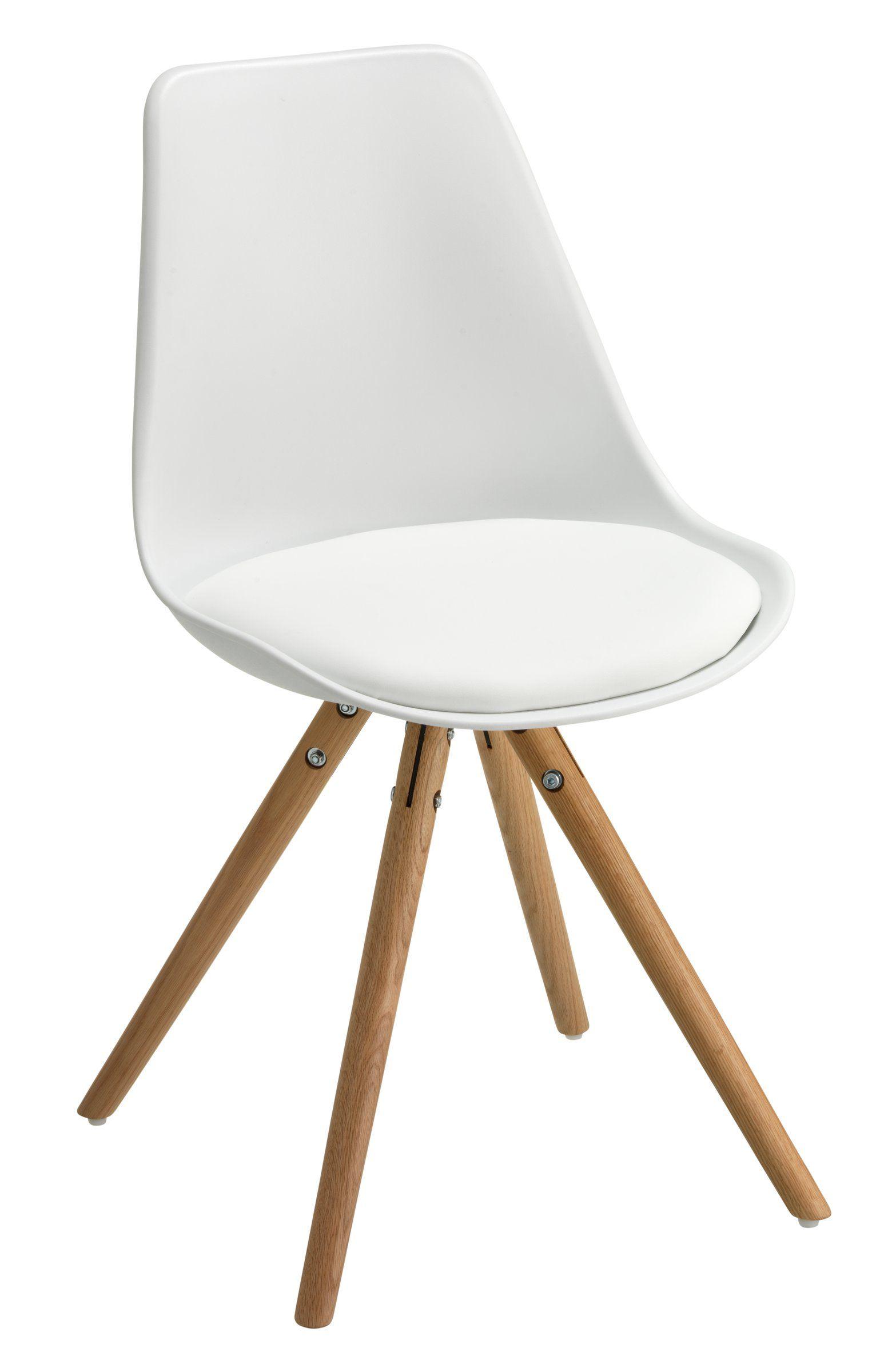 Stuhl TOTTI, Eiche massiv,geölt,Kunststoffschale gepolstert,Kunstleder