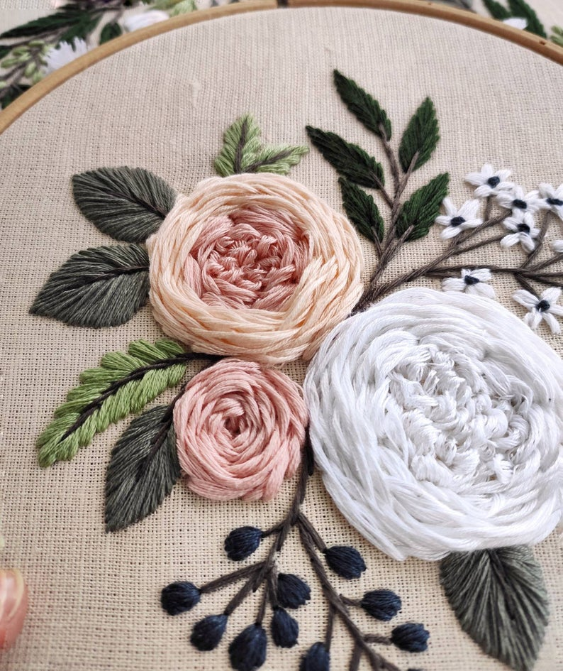 Pdf pattern+ video tutorial. Garden roses/ digital tutorial floral diy  hand embroidery Digital Down – Handstickstiche