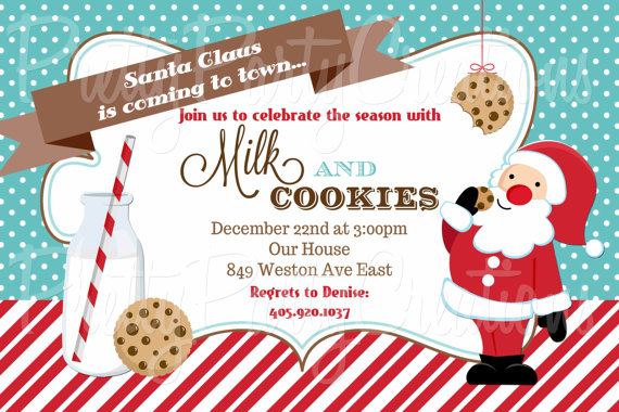 Santa Milk And Cookies Invitation You By Prettypartycreations