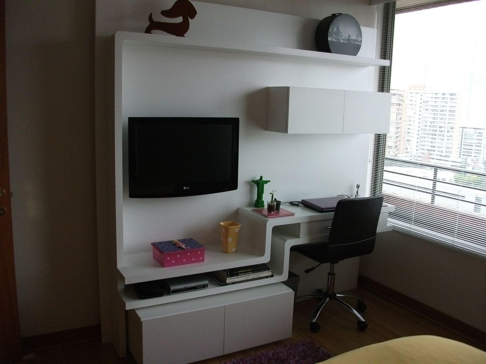 Sistema de muebles para escritorio y tv escritorio con for Dormitorios juveniles con escritorio