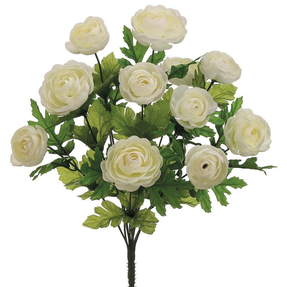 wedding centerpieces fake flowers%0A Silk Flower Ranunculus Bush in Cream      in  Tall