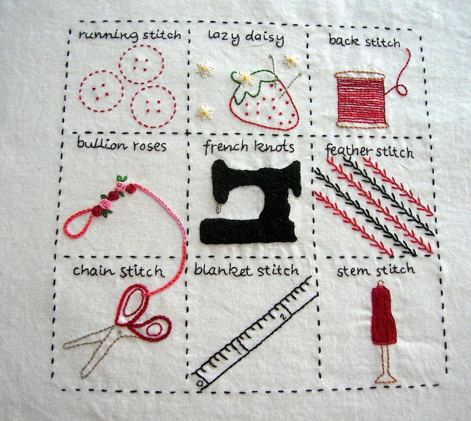 Embroidery Stitch Sampler | 자수 | Pinterest | Bordado, Puntadas y ...