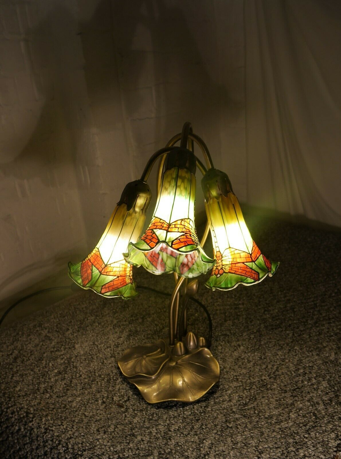 Art Nouveau Three Light Lily Pad Table Lamp with Dragonfly