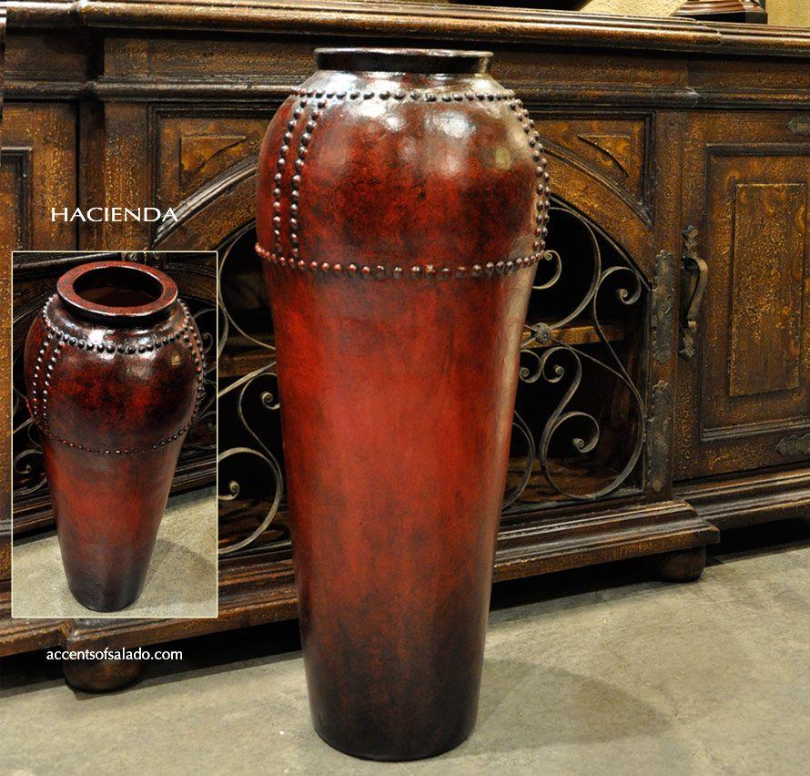 Mediterranean Tall Hacienda Floor Vase In A Rustic Red Finish
